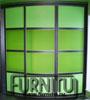 Прямой и радиусный шкафы купе с фото печатью Царство  Радиусный шкаф купе, выпуклый, зеленый в двух тонах с черными ручками и горизонтами, «Зелёная игра»