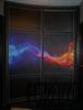 Радиусный шкаф купе черный огонь и холод фото печать