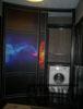Радиусный шкаф купе черный, огонь и холод фото печать, Внутреннее наполнение полки и штанги. Открыта Левая радиусная дверь.